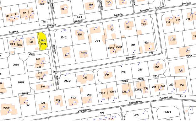 Nieruchomość gruntowa niezabudowana położona przy ul. Średniej 16 – działki nr 78/2 i 79/1, obr. 3006