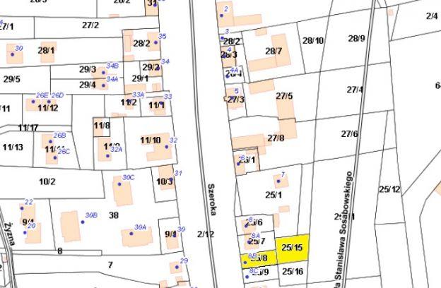Nieruchomość gruntowa położona przy ul. Szerokiej 8B – dz. nr 25/15, 25/8 z obrębu 2052.